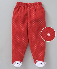 Mom's Love Polka Dotted Footed Leggings - Red
