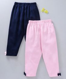 Mom's Love Elastic Waist Full Length Leggings  Pack of 2 - Navy Blue Pink