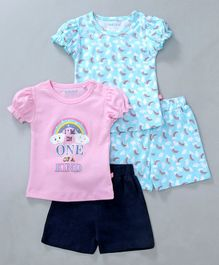 Mom's Love Half Sleeves Tee & Shorts Combo of 2 Sets Rainbow Print - Blue Pink