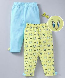 Mom's Love Full Length Leggings Solid & Tweety Print - Blue Yellow