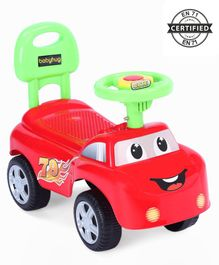 Babyhug Funky Manual Ride On Car With Steering Wheel - Red