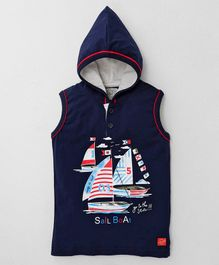 Olio Kids Sleeveless Hooded Tee Sail Boat Print - Navy Blue