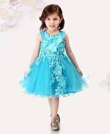 eaf57a8ba2b9 Mark   Mia Sleeveless Party Wear Frock Floral Applique - Blue