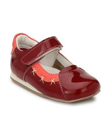 Tuskey Cross Stitch Velcro Closure Bellies - Maroon