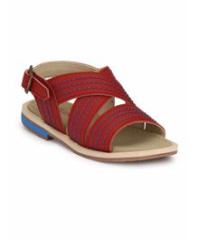 Tuskey Criss Cross Buckle Closure Sandals - Red
