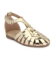 Tuskey Flower Embellished Velcro Straps Sandals - Gold