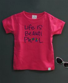 Zeezeezoo Short Sleeves Life Is Beautiful Print Tee - Dark Pink