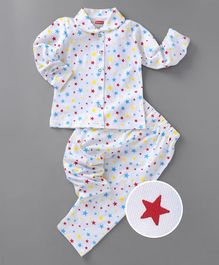 c7c56488e00 Babyhug Full Sleeves Cotton Night Suit Star Print - White