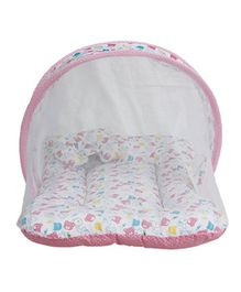 Little Hug Baby Mattress With Mosquito Net Bear Print - White Pink