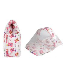Little Hug Mattress Set With Mosquito Net & Sleeping Bag Combo Set Bear Print - Pink