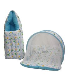 Little Hug Mattress Set With Mosquito Net & Sleeping Bag Combo Set Bear Print - Blue