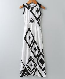 Whaou Sleeveless All Over Printed Dress - White
