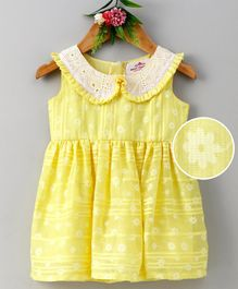 Many Frocks & Floral Print Sleeveless Dress - Yellow