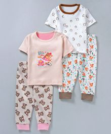 Kidi Wav Set Of 2 Printed Half Sleeves Tee & Pyjama Set - Beige