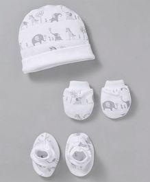 5af29225465 Ben Benny Cap Mitten   Booties Set Animal Print - White