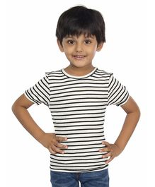 Olele Striped Half Sleeves T-Shirt - Black & White