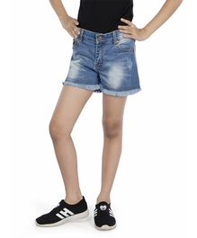 Olele Raw Hem Washed Denim Shorts - Blue