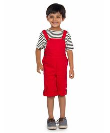 Olele Striped Half Sleeves Tee With Dungaree - Red & White