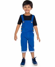 Olele Solid Half Sleeves Tee With Dungaree - Black & Blue