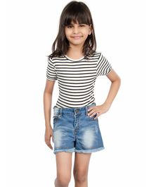 Olele Half Sleeves Striped Tee With Shorts - White & Blue