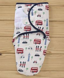 Babyhug Snuggle Me Interlock Swaddle Wrapper Vehicle Print - Navy Blue White