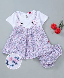 Wow Girl Half Sleeves Frock With Bloomer Floral Print - Pink White