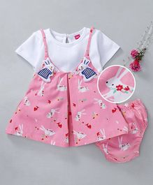 Wow Girl Half Sleeves Frock With Bloomer Bunny Print - Pink White