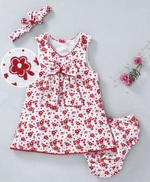 Wow Girl Sleeveless Frocks With Bloomer & Headband Floral Print - White Red