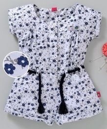 Wow Girl Cap Sleeves Jumpsuit Allover Floral Print - White