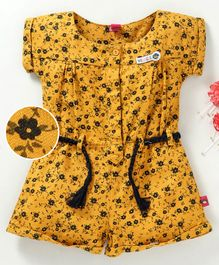 Wow Girl Cap Sleeves Jumpsuit Allover Floral Print - Mustard Yellow
