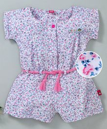 Wow Girl Short Sleeves Floral Jumpsuit - Pink