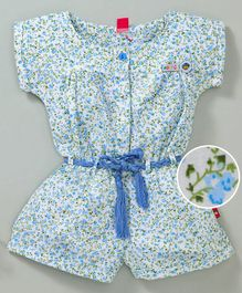 Wow Girl Short Sleeves Floral Jumpsuit - Blue