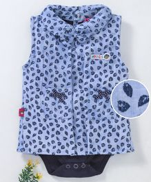 Wow Girl Sleeveless Frock Style Onesie Leaf Print - Blue