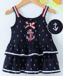 Wow Girl Singlet Layered Frock Anchor Print - Navy Blue