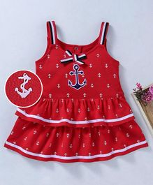 Wow Girl Singlet Layered Frock Anchor Print - Red