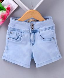 Vitamins Denim Shorts With Front Pockets - Blue