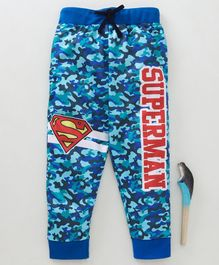 Game Begins Full Length Camouflage Lounge Pant Superman Print - Blue