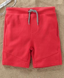 Fox Baby Solid Colour Shorts With Drawstring - Red