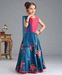 cfabe284c Babyhug Lehenga With Sleeveless Chole & Dupatta Floral Embroidered - Pink  Blue
