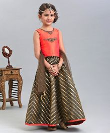 Babyhug Girls Sleeveless Brocade Lehenga Ghaghra 2-3 YRS Peach