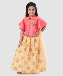 2eafc322116 Babyhug Girls Half Sleeves Blouse   Chanderi Lehenga With Dupatta - Peach