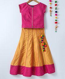 e75065fcb0628f Silverthread Cap Sleeves Designer Choli & Lehenga Set - Pink & Yellow