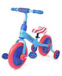 Babyhug Wanderer 2-1 Plug & play Balance Bike & Bicycle Red Light Blue - 12 inches