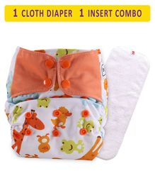 Babyhug Free Size Reusable Cloth Diaper With Insert Animal Print - White Yellow