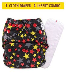 Babyhug Free Size Reusable Cloth Diaper With Insert Star Print - Black Red