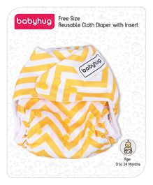 Babyhug Free Size Reusable Chevron Cloth Diaper With Insert - Yellow White