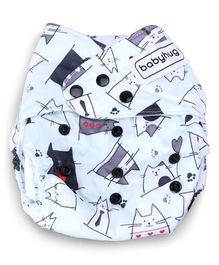 Babyhug Free Size Reusable Cloth Diaper With Insert Kitty Print - Grey