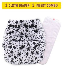 Babyhug Free Size Reusable Cloth Diaper With Insert Star Print - White Black
