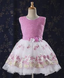 Babyhug Sleeveless Frock With Embroidered Flare - Pink