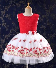 Babyhug Sleeveless Frock With Embroidered Flare - Red